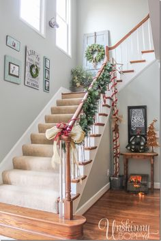 Christmas decorating in the foyer and staircase