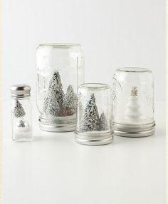 Anthropologie Mason Jar Snow Globe DIY also make mini bottle snowglobe charms with mini bottles: http://www.ecrafty.com/c-517-mini-glass-bottles.aspx #ecrafty