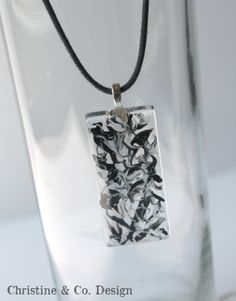 Art on Glass Pendant Charm in Black and by ChristineandCodesign, $26.00