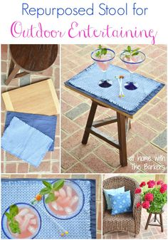 Repurposed Stool for Outdoor Entertaining-At Home with The Barkers
