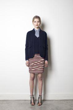 bandage skirt, blazer, button up