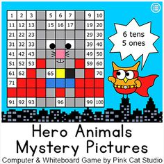 Practice place value, sequencing, addition and subtraction with this fun and engaging Superhero Animals Mystery Pictures game for interactive whiteboards and computer stations. By Pink Cat Studio