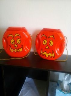 Grandpa's crafty idea. He made these pumpkins out of a used tide pod container for them to go trick or treating. The girls were so excited. Thx grandpa