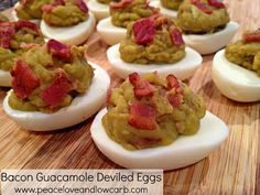 Bacon Guacamole deviled eggs - Peace, Love, and Low Carb