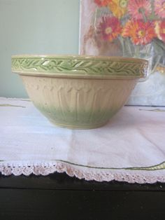 Antique Yelloware Scrolled Band Mixing Bowl with Green Glaze.
