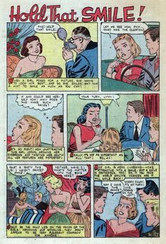 Husband-Hunting Tips from New Romance, 1950s. The moral of THIS tale being...your natural face and it's emotions are hideous. Slap a smile on that shit and stop trying to think or feel.