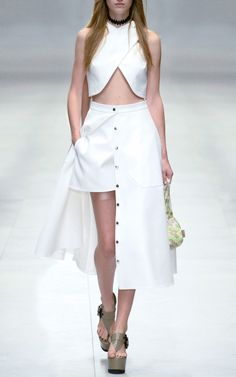 White Cotton Tricotine Crop Top, Shorts, Long Skirt with Taupe Patent Platform Shoes by Carven