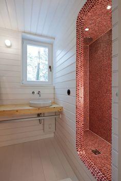 penny tile shower