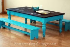 Don't donate that old coffee table just yet! Use chalk board paint and bright colors to make the perfect kid's table that your children CAN draw on. DIY mini benches too!