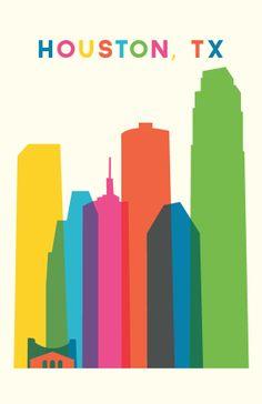wall art, color, texas travel, big city, amaz place, homes, travel posters, houston texa, houston print