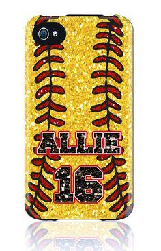CUSTOM iPhone 5 4s 4 Samsung Galaxy s3 siii Phone Case - Softball Glitter Mom Dad Name Number Sports - Monogram Personalized. $39.00, via Etsy.