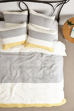 love this #yellow and #grey striped duvet cover http://rstyle.me/n/j24pzr9te