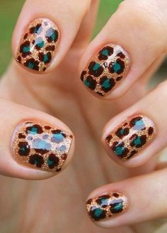 Gold & Turquoise Cheetah Print Nails