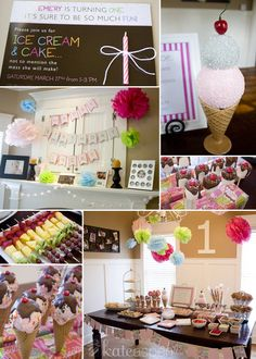 themed birthday parties, ice cream party, ice cream birthday party theme, 1st birthday themes, ice cream 1st birthday party, ice cream cakes, 1st birthdays, parti idea, cream parti