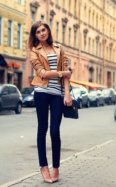 tan leather jacket + navy stripes + skinny jeans + nude heals