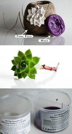 DIY Ornaments / Gift Toppers Tutorial - 1) Make molds using a two part silicone mold making putty (in purple). 2) Then fill mold with polymer clay to make ornament. Easy and fast DIY.