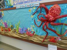 Under the Sea bulletin board.Made w/ pool noodles,spray insulation foam, and the suction cups are from a bath mat from the dollar store. vbs under the sea, under the sea bulletin boards, sea bulletin board ideas, under the sea boards, under the sea vbs