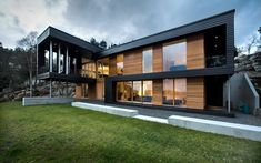Villa Storingavika, showing the dark stained fir and oiled cedar cladding
