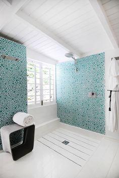 open shower, gorgeous tile