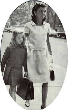 Walking Caroline to her first day of school at the Convent of the Sacred Heart, New York. 1964.