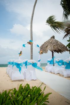Banquet chair covers with Caribbean organza sashes
