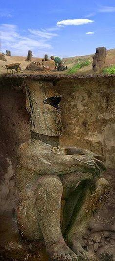 Easter Island Heads Dug Up