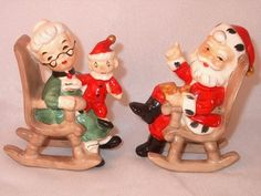 Pair Vtg Lefton Santa Mrs Claus Rocking Chair Salt Pepper Shakers Christmas