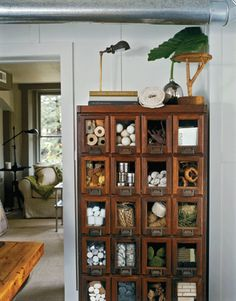 "antique seed-packet cabinet  ""Come to a Wrecking Ball,"" Country Living February 2005"