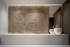 Another rendering for a beautiful bathroom by Polish office Arch 515. I really like the combination of white, subdued materials in combination with the strong stone. Beautiful.