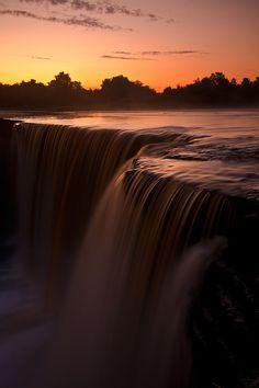 Sunset in Jägala waterfall, Estonia