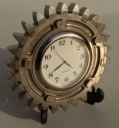 Silver gear desk clock made from a Honda F1 car part by LedonGifts, $52.00