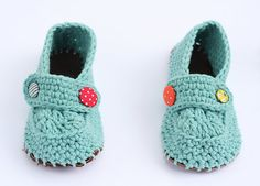 LeatherSoled Crochet Toddler Slippers for by AdorkableCrochet, $26.00