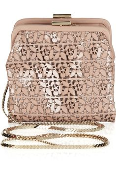 #VALENTINO  Laser-cut Patent-leather Shoulder #Evening Bag