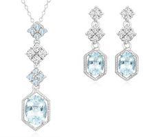 5 Carat Blue Topaz & White Topaz Pendant and Earrings Set in Sterling Silver