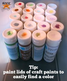 Add a blob of paint to the top of each craft paint lid to easily identify the color!