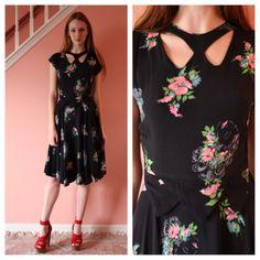 Vintage 40s Dress / Lady Face Novelty Print / Crepe Cut Out Neckline Dress / New Years Eve Dress / Little Black Dress / Lips Print / Wartime on Etsy, $400.00