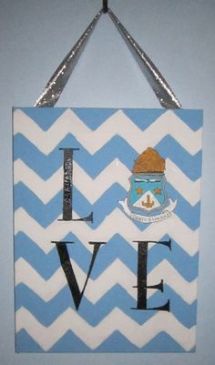 "Chevron ""Love"" Canvas with Alpha Delta Pi Crest. $23.00, via Etsy."