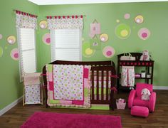 Splash Pink Crib Bedding  (Pink and Lime Green Crib Bedding)  Your nursery is pretty in pink! The Splash Pink  3-Piece Crib Bedding Set is perfect for your baby  girl's nursery. A beautiful floating bubble and  dot print is complemented by a stylized border  featuring patches of cozy paradise and pretty  pink ultrasuede mixed with a matching mini  dot print and a variegated stripe print in the  adorable color palette of paradise and pretty  pink, electric lime and buttercup yellow. A  beautiful