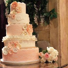 Coral, cream, and gold vintage wedding cake.  Just Lovely!