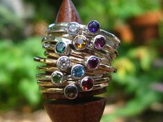 CHOOSE 5 Gemstone Stacking Rings Sterling Silver or Gold Fill with 24 Stones to Choose From by tinyshinyones, $125.00