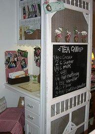 old door screen, idea, diy crafts, old screen doors, screens, craft projects, vintage windows, kitchen, vintage doors