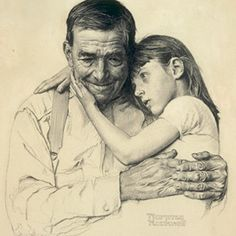 """Forsaken"" by Norman Rockwell. 1952. Charcoal on paper. Donated by Rockwell to the New York Times' ""New York's 100 Neediest Cases"" charity campaign.  Was on loan to The Smithsonian American Art Museum, Washington, DC, from the private collection of George Lucas."