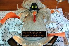 Burlap Turkey Napkin Ring thepaintedapron.com