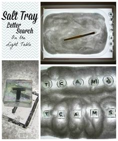 Salt Tray Letter Search on the Light Table for preschoolers! A fun learning activity from Where Imagination Grows