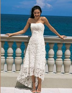 A lot of cute cheap beach wedding gowns.