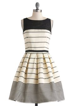 Promoting Elegance Dress - Black, Polka Dots, Stripes, Pleats, Party, Fit & Flare, Sleeveless, Spring, Cream, Mid-length, Cutout, Boat, Pockets, Wedding, Luxe