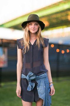 Light dress denim shirts, shirt dress, hat, fedora