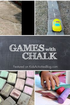 Fun list of games to play and things to create with sidewalk chalk with kids.