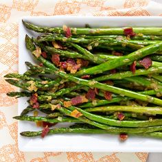 Spring Equinox:  #Roasted #Asparagus with #Bacon #Vinaigrette, for the #Spring #Equinox.