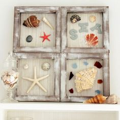 A gorgeous way to display mementos in your home. Gather up all of your beach findings and add them to a fun DIY shadow box.